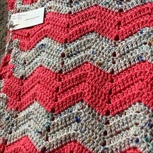 Chevron Crocheted Queen Size Blanket Hand Made